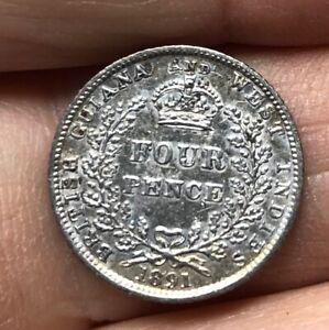 British Guiana - 1891- 4 Pence Silver coin - Queen Victoria - Good Grade