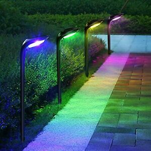 ROSHWEY Solar Pathway Lights Outdoor 4 Pack 12LED 7 Color Changing 9 Modes Wa...