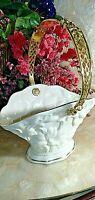 "Mint 1996 Lenox Ivory Porcelain ""The Lily Basket"" w/ Gold Trim & Handle"