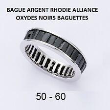 BAGUE RHODIE ALLIANCE OXYDES NOIRS BAGUETTES  en Argent Massif 925