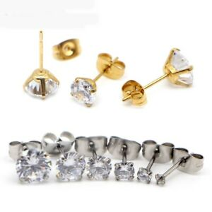 2-8mm Crystal Ear Studs Surgical Steel Earrings Rhinestone Earring Women Jewelry