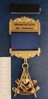 Master gold plated Jewel For Masonic Collar Regalia Freemasonry