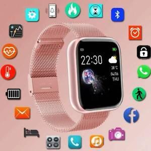 Damen Bluetooth Smartwatch Schrittzähler Armbanduhr Fitness Tracker Rosa Sport /