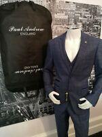 "New Men's Blue Paul Andrew 3 Piece Suit Tweed Chest 48"" Tailored Peaky Blinders"