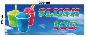 Banner Slush Ice Eis Spannband 200 x 75 cm Werbung Cafe Kiosk Burger Imbiss