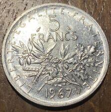 PIECE DE 5 FRANCS ARGENT SEMEUSE 1967 (615) RARE!!!