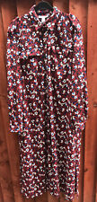 Topshop Womens Red Floral Long Shirt Dress Size UK 12 TALL Long Sleeved White
