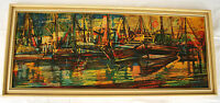 Bild Kunst Druck Boote DDR Ostalgie GDR Wandbild Hafen am Abend 60er R.Pusch