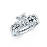 14k Solid White Gold 2.25 CT Diamond Ring Set Engagement Ring with Wedding Band