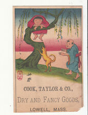 Cook Taylor & Co Dry Goods Lowell Mass Chinese Tree Dog Vict  Card c 1880s
