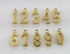 40PCS Assorted Antiqued gold plate Number charms #23044