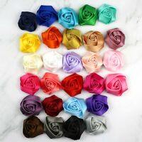 50Pc 40mm Satin Ribbon Rose Flower DIY Craft Wedding Appliques Accessories Decor