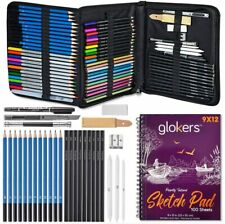 Glokers 72-Piece Art Supplies & Drawing Kit Set Art Pencils, Graphite, Metallic