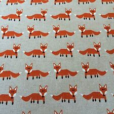 Foxes Linen Fabric Remnant Polycotton 50cm x 40cm