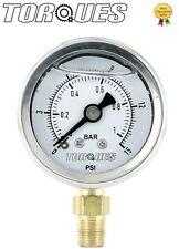 """COPPIE analogico manometro inferiore Fed 1/8"""" NPT 0-1 bar/0-15 PSI liquido riempito"""