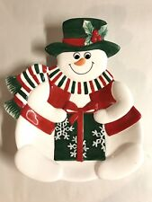 """FITZ AND FLOYD HOLIDAY SNOWMAN COOKIE PLATE 8.5"""" CHRISTMAS DISH DECOR"""