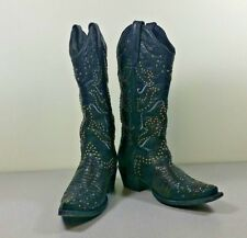 Fancy black studded Denver cowboy boots 8.5 Handmade EUR 39 Made in USA L4060