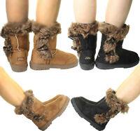 Ladies Womens Winter Snow Flat Warmers Flat Ankle High Fur Lined Pull on Boots