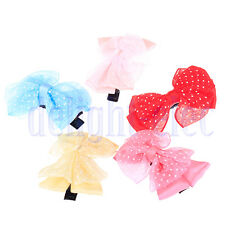 5 X Lovely Baby Kid Girls Flower Lace Bowknot Hair Bows Clip headbands 5 CM DG