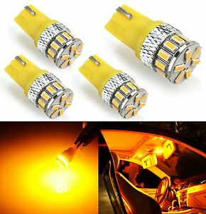 JDM ASTAR 4x T10 921 High Power 3014 Chip SMD LED Amber License Plate Light Bulb