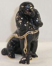 KINGSPOINT SHADOW THE POODLE DOG PEWTER BEJEWELED HINGED TRINKET / JEWELRY  BOX