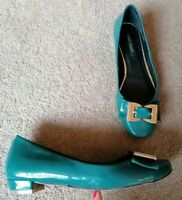River Island Teal Patent Flat Ballet Shoes Uk Size 4 Good Condition