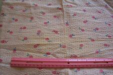 1940's Cotton Plisse Puckered Waffled Sewing Dress Fabric Pink Fruit