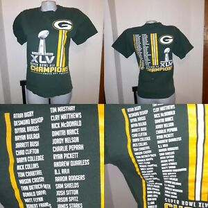 RARE  NFL GREEN BAY PACKERS YOUTH SUPER BOWL XLV CHAMPIONS Roster T SHIRT S/M 32