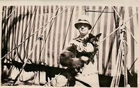 Vintage Old 1920's Photo of Man Holding Pet FOX at State Fair Circus Tent
