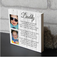 Personalised Daddy Dad Father Plaque Wooden Keepsake Photo Block Present Gift