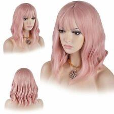 Girls Pink Long Wavy Wigs Lace Bob Hair Cosplay Full Head Synthetic Fashion USA