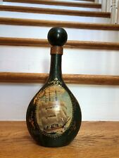 Vintage Leather Decanter Bottle Ship Toscany Made in Italy
