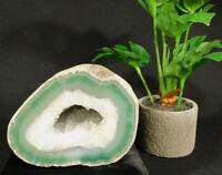 A Larger Polished Light GREEN! Banded Agate Quartz Crystal Geode 1181gr