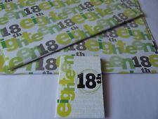 18th Birthday Gift Wrap......2 Sheet & 1 Tag....70cm x 50cm