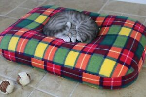 Large Bean Bag Cat Bed, Luxury Orthopedic Tartan Fleece Pet Cushion Nesting Bed.