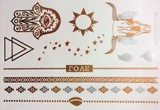 Esclusivo Design Oro Metallico Tatuaggi Temporanei (Toro) + FREE design