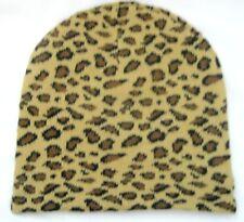 Tan Beige Black Spots Leopard Print Winter Knitted Skull Beanie Ski Cap-New!