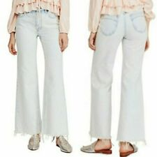 FREE PEOPLE High Rise Straight Flare Jean Acid Wash Button Fly Wide Leg NWT