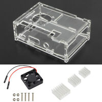 1*Clear Acrylic Case Enclosure Box Cooling Fan Heatsink For Raspberry Pi 2/3/B+
