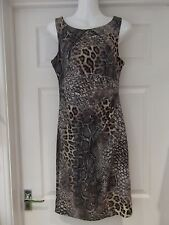 Animal Print Dress by Dorothy Perkins in Black/Grey/Pink/Nude Fitted Uk Size 10