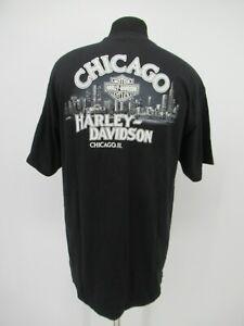 P2943 VTG Harley Davidson Men's Motorcycle Chicago Biker T-Shirt Size XL