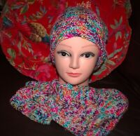 Ladies Double Bobble Hat, Half Mittens & Bed Socks Set Multi Coloured New