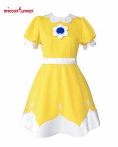 Princess Daisy Cosplay Costume Dress Yellow Woman Halloween Outfit