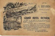 Stampa antica pubblicità GRAND HOTEL VICTORIA San Bernardino 1895 Antique print