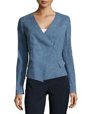SZ 12 Donna Karen Old Indigo Sunbaked Stretch Linen Wrap Jacket Pockets $1895