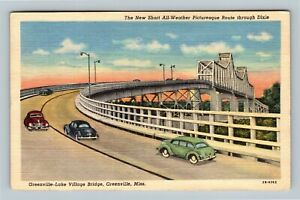 Greenville MS, Sunset View Lake Village Bridge, River Linen Mississippi Postcard