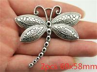 Fashion 2pcs Large Dragonfly Pendant Charms Antique Gold Tone Pendant Bead