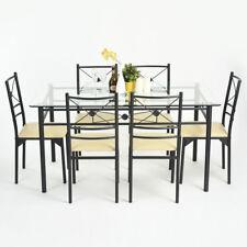 Ensemble Table à manger 6 Chaises Verre Transparent PU Ecru Métal Noir 150CM