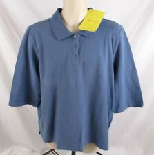 Denim & Co. Womens Polo Shirt Blue Sz 1X Casual Pull On 3/4 Sleeve CB29F NWT