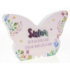 Sister Gift - Large Floral Butterfly Colourful plaque with sentiment 22cm 66264